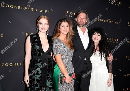 Stock Picture of Jessica Chastain, Niki Caro, Johan Heldenbergh and Diane Ackerman
