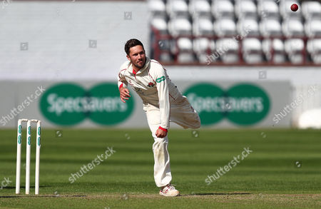 Simon Kerrigan of Lancashire bowls during the pre-season friendly match between Somerset and Lancashire at The County Ground on April 2, 2017 in Taunton, England. (Photo by Gary Day)