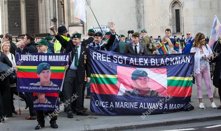 Supporters of Alexander Blackman outside the High Court