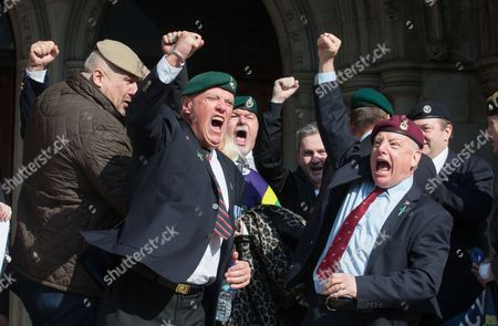 Supporters of Alexander Blackman,celebrate outside the High Court, London, after Sergeant Blackman's appeal was successful. The court heard that will be free within 2 weeks