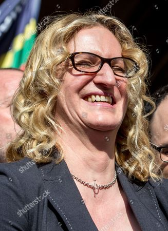 Claire Blackman,wife of Alexander Blackman,celebrates outside the High Court, London, after Sergeant Blackman's appeal was successful. The court heard that will be free within 2 weeks