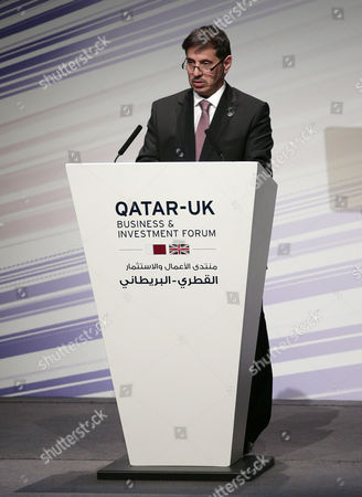 Prime Minister of Qatar Sheikh Abdullah bin Nasser bin Khalifa Al Thani at the UK-Qatar trade and investment conference at The Library of Birmningham