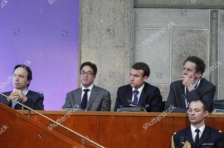 Michel Yahiel, Aquilino Morelle, Emmanuel Macron and Nicolas Revel