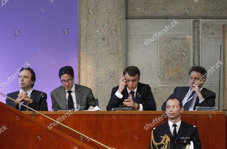 Aquilino Morelle, Michel Yahiel, Aquilino Morelle, Emmanuel Macron and Nicolas Revel