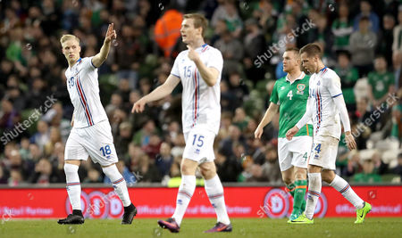 Republic of Ireland vs Iceland. Iceland's Hordur Bjorgvin Magnusson celebrates scoring the first goal of the game with a free kick