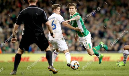Republic of Ireland vs Iceland. Ireland's Jeff Hendrick and Olafur Ingi Skulason of Iceland