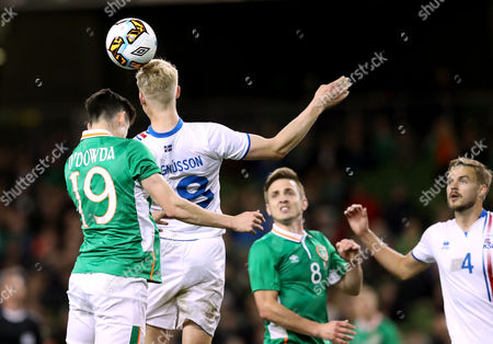 Republic of Ireland vs Iceland. Ireland's Callum O?Dowda with Hordur Bjorgvin Magnusson of Iceland