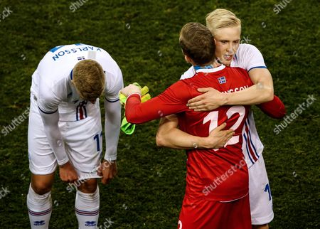 Republic of Ireland vs Iceland. Iceland?s Hordur Bjorgvin Magnusson celebrates after the game with Ingvar Jónsson