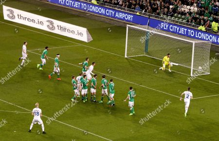 Republic of Ireland vs Iceland. Iceland?s Hordur Bjorgvin Magnusson scores their first goal from a free kick