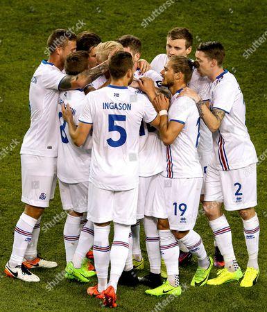 Republic of Ireland vs Iceland. Iceland?s Hordur Bjorgvin Magnusson celebrates scoring a free kick with teammates