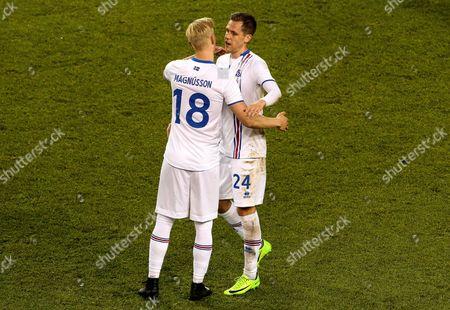 Republic of Ireland vs Iceland. Iceland?s Hordur Bjorgvin Magnusson celebrates scoring with Kjartan Henry Finnbogason