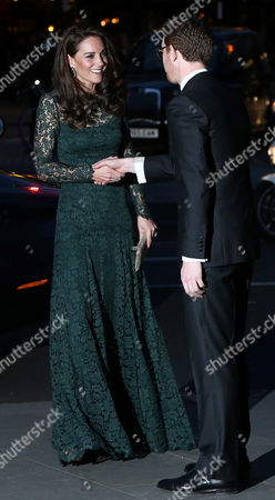 Catherine Duchess of Cambridge (L), is greeted by Nicholas Cullinan Director of the National Portrait Gallery as she at the arrives 2017 Portrait Gala at the National Portrait Gallery in London