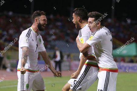 Diego Reyes, Miguel Layun, Hector Herrera Mexico's Diego Reyes, center, celebrates scoring his side's first goal against Trinidad and Tobago with teammates Miguel Layun, left, and Hector Herrera during a 2018 World Cup qualifying soccer match in Port of Spain, Trinidad and Tobago