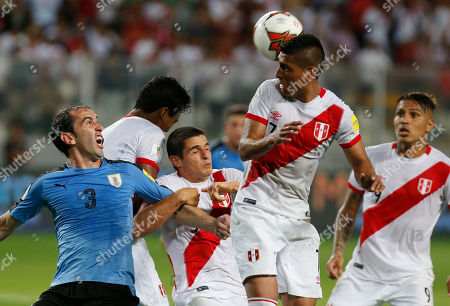 Diego Godin, Paolo Hurtado Uruguay's Diego Godin, left, and Peru's Paolo Hurtado fight for control of the ball during a 2018 World Cup qualifying soccer match in Lima, Peru, Tuesday, March.28, 2017