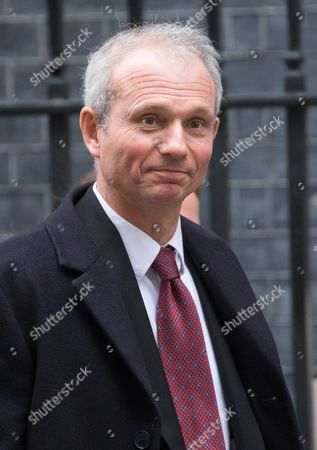 Stock Image of David Lidlington, Leader of the Commons,leaving the weekly cabinet meeting on the day that Britain is triggering Article 50 and formally leaving the EU