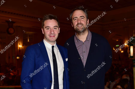 London England 30th November 2016: Playwright James Graham and Director Jeremy Herrin at the Press Night For 'This House' at the Garrick and Afterparty at the Waldorf London England On the 30th November 2016