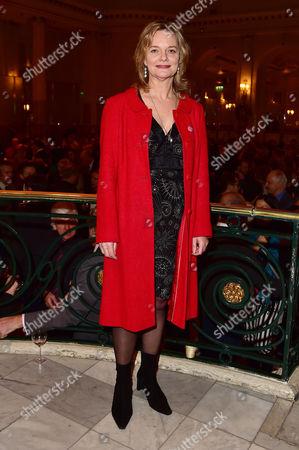 London England 30th November 2016: Sarah Woodward at the Press Night For 'This House' at the Garrick and Afterparty at the Waldorf London England On the 30th November 2016