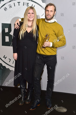 Stock Photo of Rene Pannevis and Jennifer Eriksson with Their Award For Best Short at the British Independent Film Awards (bifa) at Old Billingsgate London On the 4th December 2016
