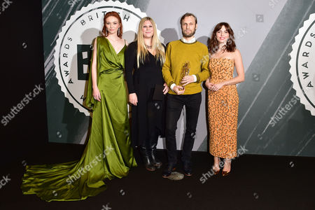 Rene Pannevis and Jennifer Eriksson with Their Award For Best Short Presented by Eleanor Tomlinson and Ophelia Lovibond at the British Independent Film Awards (bifa) at Old Billingsgate London On the 4th December 2016