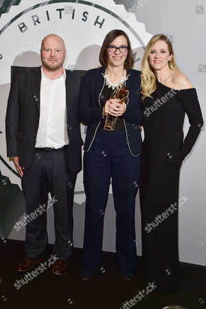 Stock Image of Clare Binns with the Special Jury Prize Presented by Edith Bowman and Mark Herbert at the British Independent Film Awards (bifa) at Old Billingsgate London On the 4th December 2016