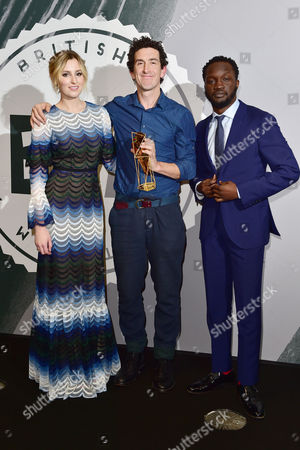Robbie Ryan with His Award For Outstanding Achievement in Craftpresented by Edith Bowman and Mark Herbert at the British Independent Film Awards (bifa) at Old Billingsgate London On the 4th December 2016