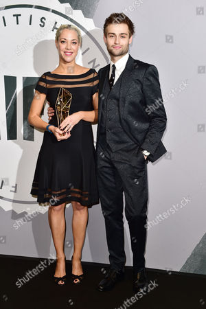 Camille Gatin with Her Award For Breakthrough Producer Presented by Douglas Booth at the British Independent Film Awards (bifa) at Old Billingsgate London On the 4th December 2016