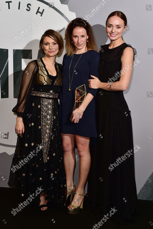 Rachel Tunnard with Her Award For Debut Screenwriter Presented by Myanna Buring and Laura Haddock at the British Independent Film Awards (bifa) at Old Billingsgate London On the 4th December 2016