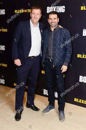 London England 28th November 2016: Matt Le Tissier and Francis Benali at the 'Bleed For This' Screening at the Courthouse Hotel London England On the 28th November 2016
