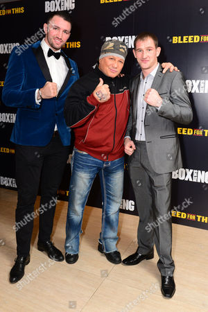 London England 28th November 2016: Hughie Lewis Fury Vinny Paz and Lenny Daws at the 'Bleed For This' Screening at the Courthouse Hotel London England On the 28th November 2016