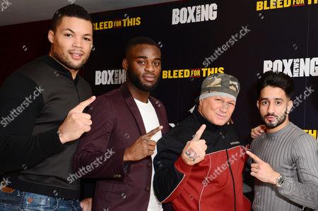 London England 28th November 2016: Vinny Paz with Team Gb Boxers Joe Joyce Joshua Buatsi and Qais Ashfaq at the 'Bleed For This' Screening at the Courthouse Hotel London England On the 28th November 2016