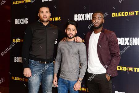 London England 28th November 2016: Team Gb Boxers - Joe Joyce Qais Ashfaq and Joshua Buatsi at the 'Bleed For This' Screening at the Courthouse Hotel London England On the 28th November 2016