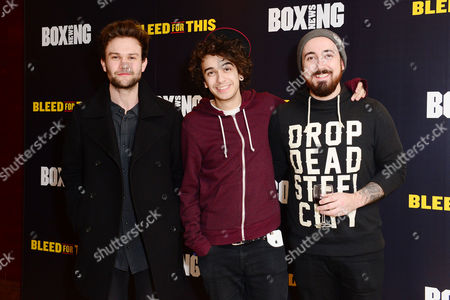 Stock Image of London England 28th November 2016: the Midnight Beast - Stefan Abingdon Dru Wakely and Ashley Horne at the 'Bleed For This' Screening at the Courthouse Hotel London England On the 28th November 2016