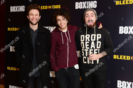 London England 28th November 2016: the Midnight Beast - Stefan Abingdon Dru Wakely and Ashley Horne at the 'Bleed For This' Screening at the Courthouse Hotel London England On the 28th November 2016