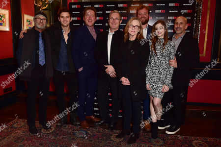 Stock Photo of London England 1st December 2016: Ed Harris Jeremy Irvine Barnaby Kay Jack Fortune Amy Madigan Gary Shelford Director Scott Elliot and Charlotte Hope Arrive For the Press Night Afterparty For 'Buried Child' at L'escargot London England On the 1st December 2016