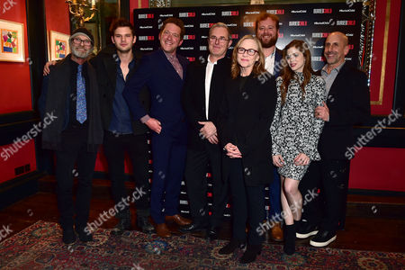 Stock Image of London England 1st December 2016: Ed Harris Jeremy Irvine Barnaby Kay Jack Fortune Amy Madigan Gary Shelford Director Scott Elliot and Charlotte Hope Arrive For the Press Night Afterparty For 'Buried Child' at L'escargot London England On the 1st December 2016