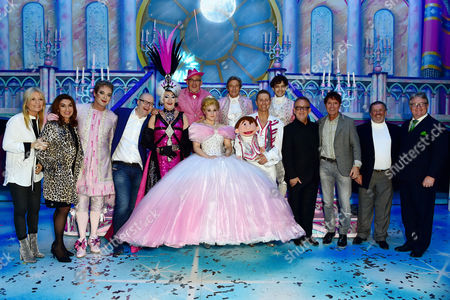 Paul O'grady Count Arthur Strong Julian Clary Lee Mead Natasha J Barnes Paul Zerdin and Nigel Havers with Gaby Roslin Jane Macdonald Cliff Richard Jim Davidson at the Cinderella Opening Night at the London Palladium in London Uk On the 14th December 2016
