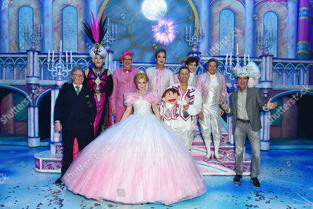 Paul O'grady Count Arthur Strong Julian Clary Lee Mead Natasha J Barnes Paul Zerdin and Nigel Havers with Cliff Richard and Jim Davidson at the Cinderella Opening Night at the London Palladium in London Uk On the 14th December 2016