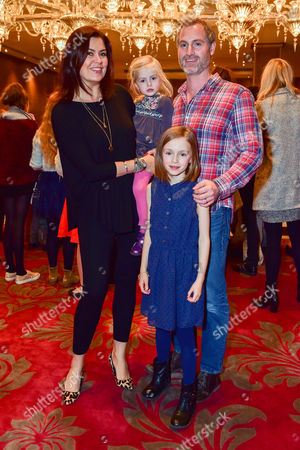 Amanda Lamb with Her Husband Sean Mcguinness and Children Lottie and Willow at the 'Cinderella' Screening On Saturday 3rd December at the Mayfair Hotel London England