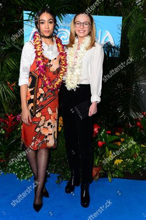 London England 20th November 2016: Sophie Simnett and Jade Alleyne at the Gala Screening of 'Moana' at Bafta London England On the 20th November 2016