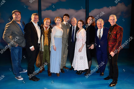 Stock Image of London England 17th November 2016: Director Rachel Kavanaugh George Stiles and Anthony Drewe Julian Fellowes Choreographer Andrew Wright Ian Bartholomew Emma Williams Cameron Mackintosh Charlie Stemp Julian Fellowes and Devon-elise Johnson at the Curtain Call During the 'Half A Sixpence' Press Night at the Noel Coward Theatre London England On the 17th November 2016