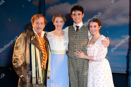 London England 17th November 2016: Ian Bartholomew Emma Williams Charlie Stemp and Devon-elise Johnson at the Curtain Call During the 'Half A Sixpence' Press Night at the Noel Coward Theatre London England On the 17th November 2016