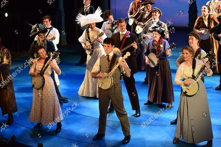 London England 17th November 2016: Charlie Stemp Devon-elise Johnson and Emma Williams at the Curtain Call During the 'Half A Sixpence' Press Night at the Noel Coward Theatre London England On the 17th November 2016