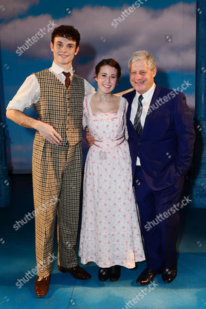 London England 17th November 2016: Charlie Stemp Devon-elise Johnson and Cameron Mackintosh at the Curtain Call During the 'Half A Sixpence' Press Night at the Noel Coward Theatre London England On the 17th November 2016