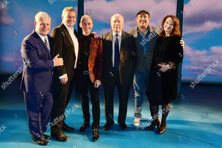 London England 17th November 2016: Cameron Mackintosh George Stiles and Anthony Drewe Julian Fellowes Choreographer Andrew Wright Director Rachel Kavanaugh at the Curtain Call During the 'Half A Sixpence' Press Night at the Noel Coward Theatre London England On the 17th November 2016
