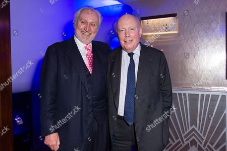 London England 17th November 2016: Nick Allott and Julian Fellowes at the 'Half A Sixpence' Press Night Afterparty at the Prince of Wales Theatre London England On the 17th November 2016