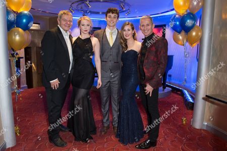 London England 17th November 2016: Emma Williams Charlie Stemp and Devon-elise Johnson with George Stiles and Anthony Drewe at the 'Half A Sixpence' Press Night Afterparty at the Prince of Wales Theatre London England On the 17th November 2016