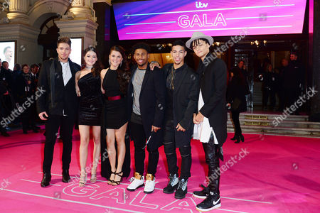 London Uk 24th November 2016: Matt Terry Emily Middlemas Saara Aalto Nathan Lewis Kieran Alleyne and Jordan Lee of X-factor Attends the Itv Gala at the London Palladium England 24th November 2016