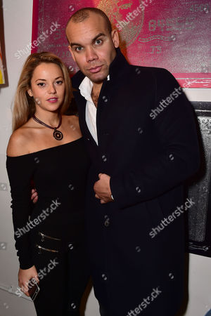 Stock Image of London England 9th November 2016: Natalie Joel with Alexander Stuart( Managing Director Collier Bristow) at the Max Wiedemann X Collier Bristow Launch at Lights of Soho in London England On the 9th November 2016