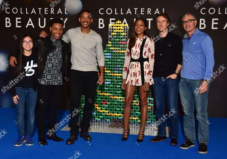 Lily Hevesh Jacob Latimore Will Smith Naomie Harris Edward Norton and Director David Frankel at the Photo-call For Collateral Beauty in London On the 14th December 2016