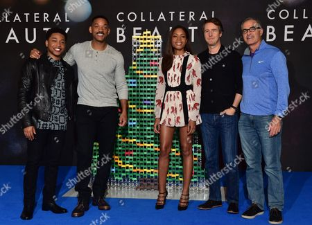 Jacob Latimore Will Smith Naomie Harris Edward Norton and Director David Frankel at the Photo-call For Collateral Beauty in London On the 14th December 2016